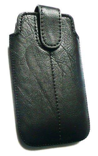 Emartbuy ® PU-Leder Schwarz Secured Slide in Pouch / Case / Sleeve / Holder (Größe X-Large) mit Zug-Vorsprung Mechanismus geeignet für Apple iPhone 4G 4GS 4S