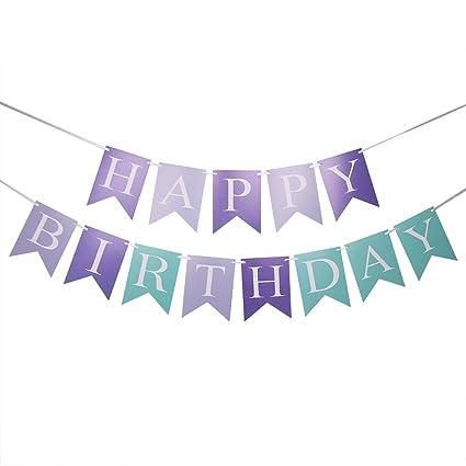 amazon com qiynao blue and purple happy birthday banner versatile