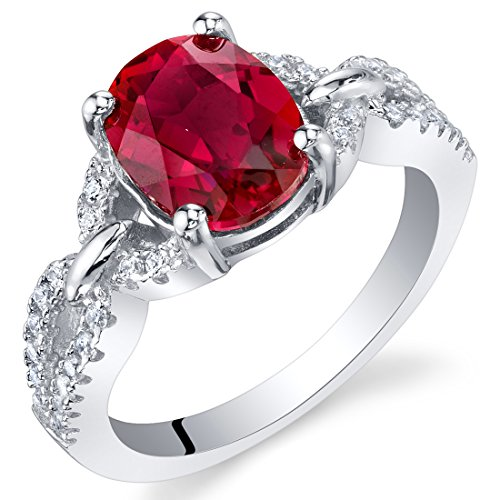 2.50 Carats Created Ruby Sterling Silver Forever Ring Size 5