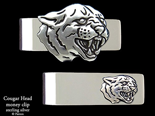 Cougar Panther Head Money Clip in Solid Sterling Silver Hand Carved, Cast & Fabricated by Paxton by Paxton Jewelry