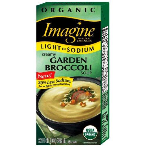 Creamy Sodium (Imagine Organic Creamy Garden Broccoli Soup, Light in Sodium, 32 Ounce Cartons (Pack of 6))