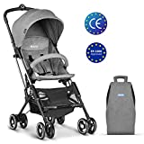 Besrey Lightweight Stroller Portable Strollers with Extended Canopy for UV Protection, Travel Friendly Pram Buggy and EasyOne-Hand Fold Push Pushchair with Large Storage Basket, Grey