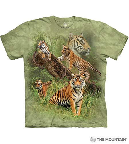 The Mountain Wild Tiger Collage Adult T-Shirt, Green, Large