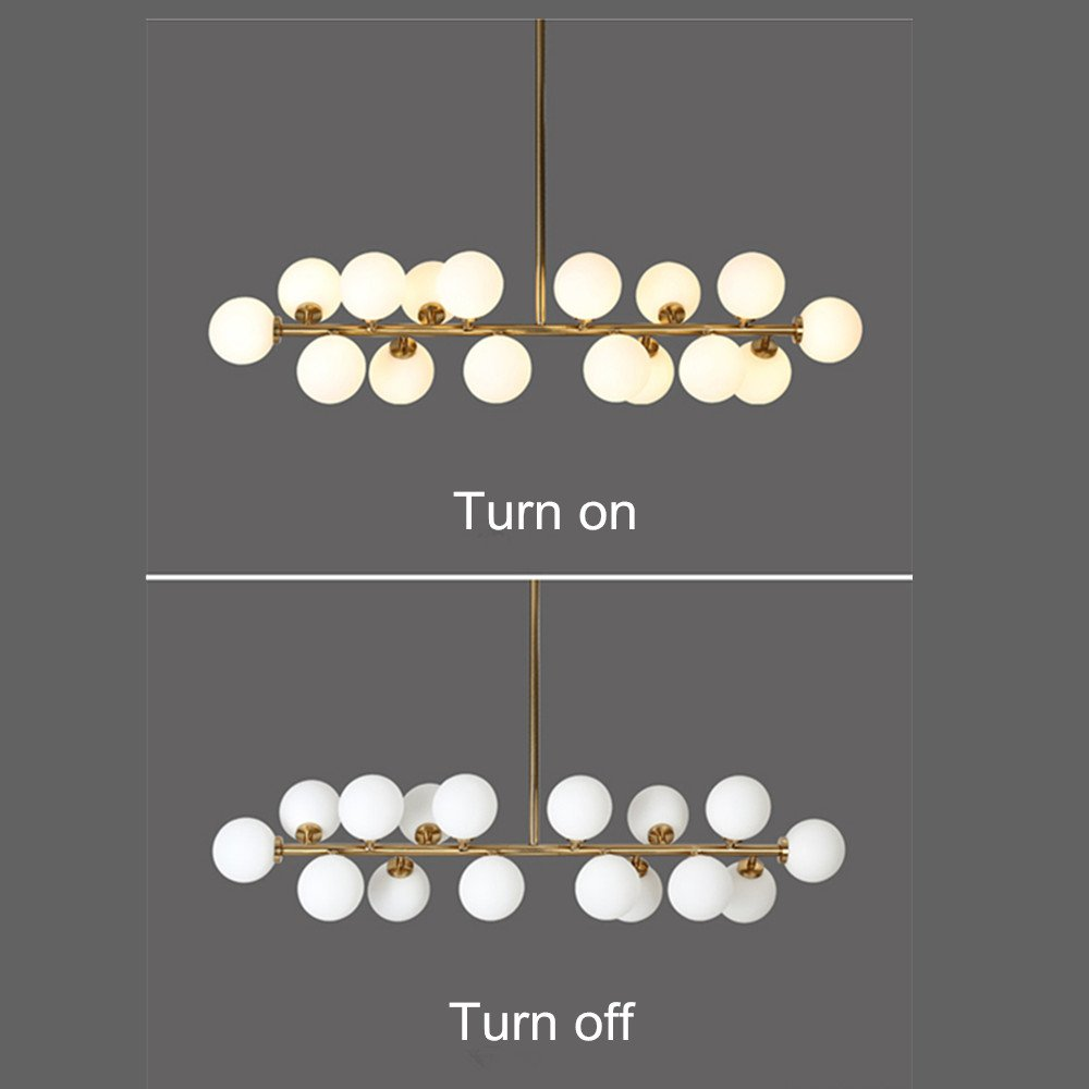 Fandian Post-Modern Chandelier 16 Round Glasses LED Ceiling Light Pendant, DNA Shape with G4 LED Bulbs (Bronze Gold (4.7'' Lampshade))