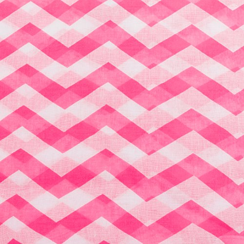 Silverhooks Womens Soft Infinity Circle Sheer Chevron Scarf (Bright Pink/White)