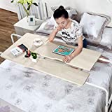 Overbed Table on Wheels Over The Bed Table Laptop Cart Laptop Desk Mobile Computer Desk Sofa Table for Office Hospital Bedroom with Adjustable Height and Width