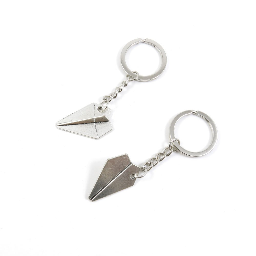 2 Pieces Keychain Door Car Key Chain Tags Keyring Ring Chain Keychain Supplies Antique Silver Tone Wholesale Bulk Lots W8HI8 Paper Airplane