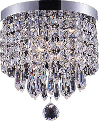 Smart Lighting-Shupregu 3-Light Modern Crystal Chandelier, Flush Mount Crystal Ceiling Light, Chrome Finish Pendent Light for Hallway, Bedroom, Kitchen, Dimmer LED Bulbs Included