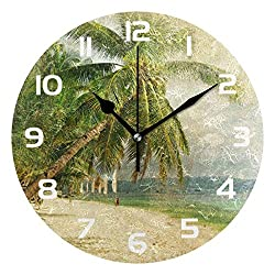 Dozili Retro Ocean Sea Beach Palm Tree Decorative Wooden Round Wall Clock Arabic Numerals Design Non Ticking Wall Clock Large for Bedrooms, Living Room, Bathroom