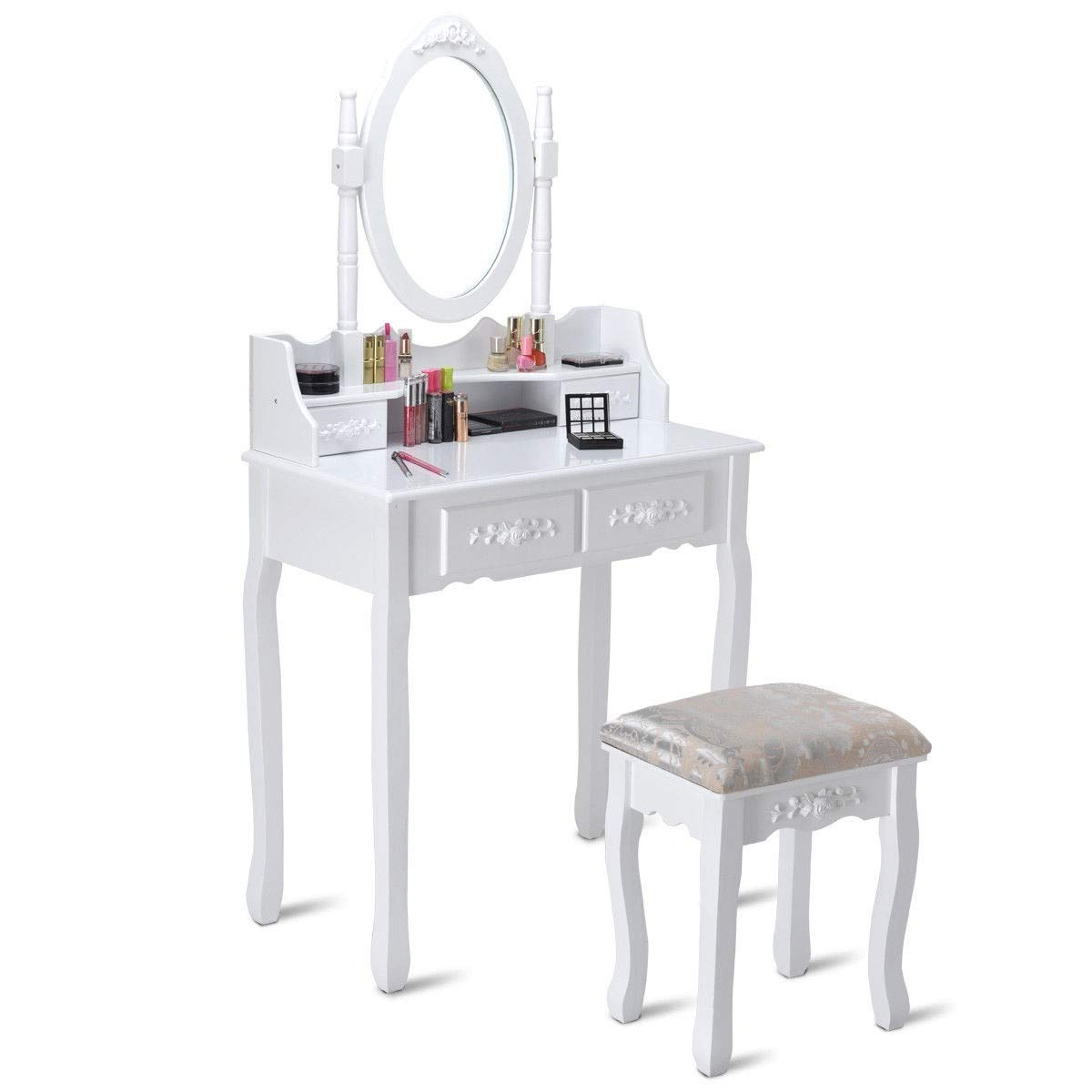 Kanizz Durable Vintage Furniture Vanity Wood Makeup Dressing Table Stool Set 4 Drawer Jewelry Accessories Skin Hair Care Dressing Nail Polish Equipment Cosmetic Organizer