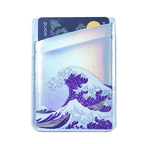Oddss Cell Phone Card Holder Sticker on Back of Phone PU Leather Wallet Pocket Pouch Sleeves Cover for Most Smartphones, Android and More (Japanese Wave)