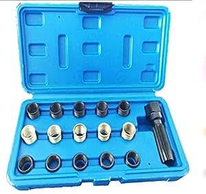 Hycy® M14 X 1.25 16 Piezas Juego De Juego De Retrabajo para Reparación De Roscas De Bujías De Tap: Amazon.es: Hogar