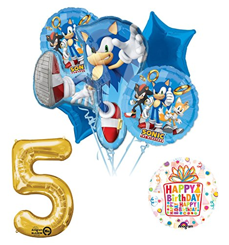 Sonic The Hedgehog 5th Birthday Party Supplies and Balloon Decorations (Sonic Decorations)