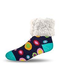 Pudus polkadot retro adult regular cozy winter classic slipper socks with grippers