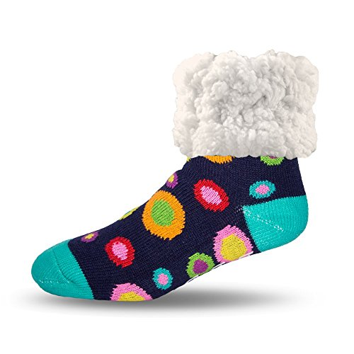 Pudus large polka dot multicolored adult regular cozy winter classic slipper socks with grippers