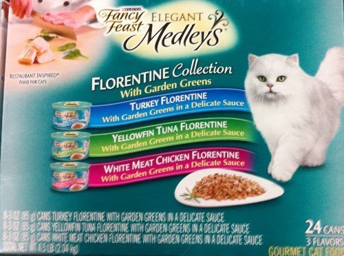 Fancy Feast Elegant Medleys for Cats, Florentine Collection with Garden Greens 3 oz. cans by Fancy Feast