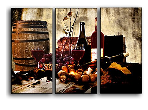 Metal Grapes Wine Bottle (Gorgeous Red Wine Wall Art Barrel Kitchen Wall Art Decor Picture Painting on Canvas Panels Pieces - Wine Barrel Bottles, Glasses and Grape Still Life Wall Decoration Theme Set 22 by 33 inches)