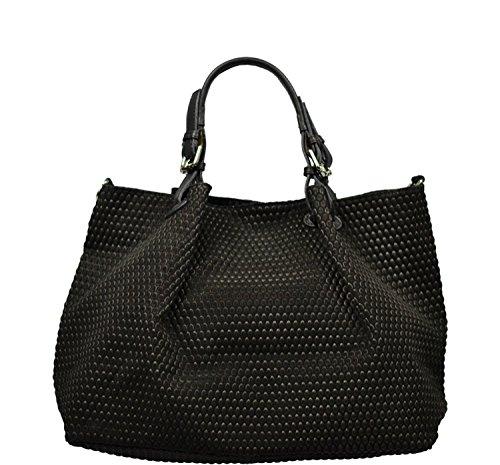 Schöne praktische Leder Schwarze Handtasche aus Leder Belloza Nera über die Schulter