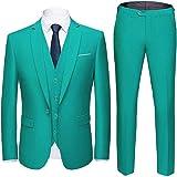 Mens 3 Pieces Suit Slim Fit One Button Business Wedding Party Blazer Vest&Pants