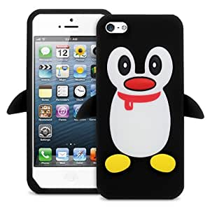 Black Cute 3D Silicone Penguin Protective Full Cover Skin Case for iPhone 5 5G 5th