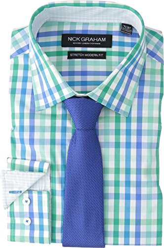 Nick Graham Men's Modern Fitted Multi Gingham Stretch Shirt with Solid tie, Green Aqua, M-L 34/35
