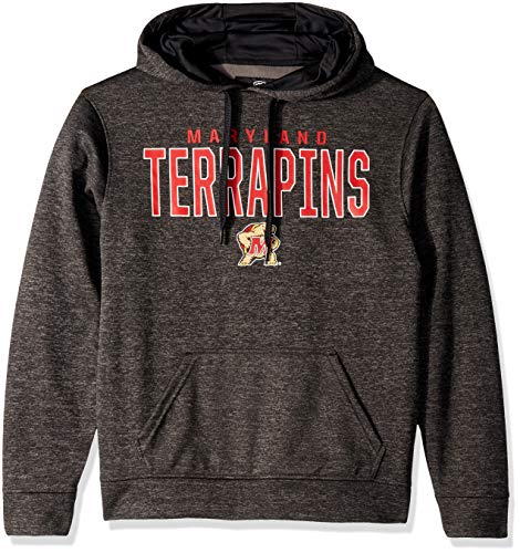 (Top of the World NCAA Men's Maryland Terrapins Dark Heathered Foundation Poly Hoodie Black Heather Large)
