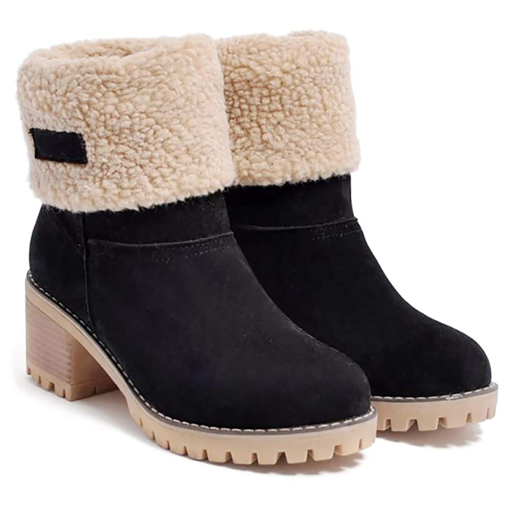 Cattle Shop Women's Winter Snow Boots Suede Lining Warm Chunky High Ankle Booties Boot
