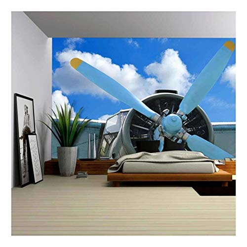 wall26 - Old Biplane Against Blue Sky, Vintage Background, Close Up - Removable Wall Mural | Self-Adhesive Large Wallpaper - 100x144 inches