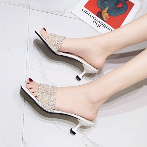 Carré Femmes Mules Blanc on Slip Sandale pour Ouvert Tongs Aiguilles Bout Été Élégant Talons Paillettes zZ5wgCxq
