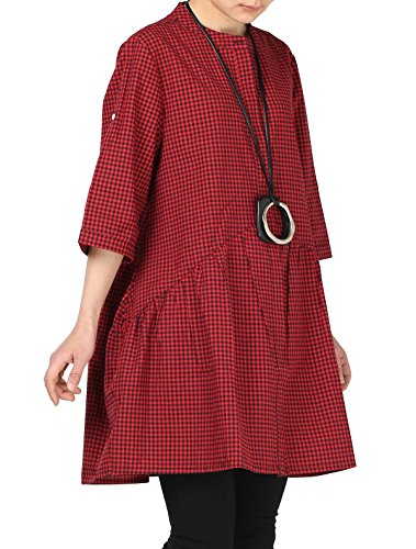 Robe Carreaux Mallimoda Tops Casuel Rouge Blouse Chemise Tunique Femme Classique T7fnfwgq