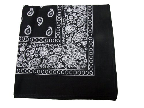Paisley One Dozen Cowboy Bandanas (Black, 22 X 22 in)