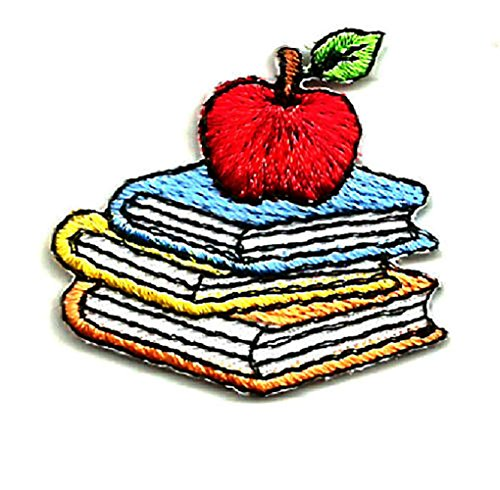 [Single Count] Custom and Unique (1.38' x 1.25' Inches) Elementary Kindergarten Reading Teacher Student School Books & Apple Iron On Embroidered Applique Patch {Red, Blue, White & Yellow Colors}