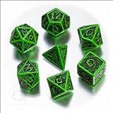 Celtic 3D Dice Set Green/Black Revised (7)