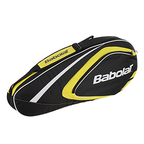 Club Racket Bag - BABOLAT Club Line 3 Racquet Bag, Black/Yellow, One Size
