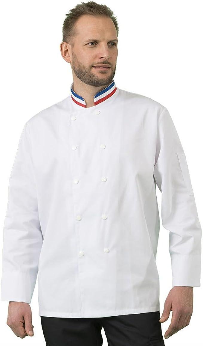 Veste De Cuisine Prestige Col Bleu Blanc Rouge France T36 Amazon
