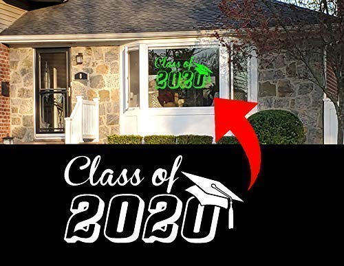 """12"""" - 36"""" REMOVABLE Graduation Class of 2020 Decal Sticker for House Front bay window display Static Cling (Multi-Color)"""