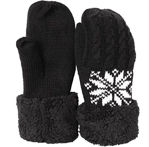 KMystic Plush Lined Cuffed Winter Knit Mittens (Black Snowflake)