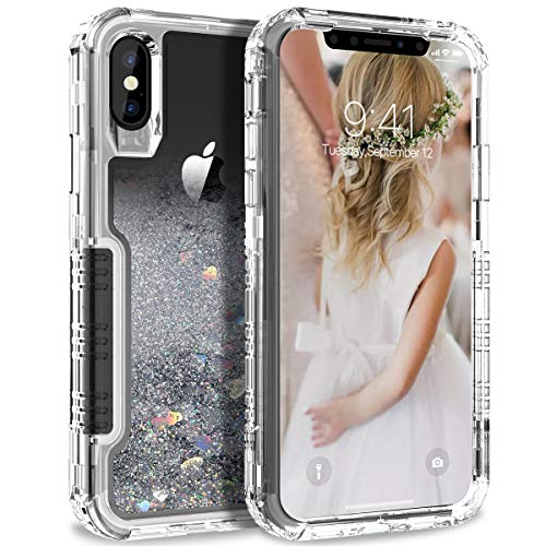 Dexnor Compatible with iPhone X/ XS Hard Case Floating Glitter Bling Moving Liquid Quicksand Cover Clear Transparent Thickened Dual Layer Full Protection Bumper for Girls/ Women - Silver