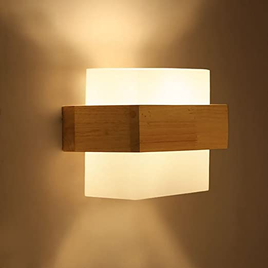Modern Minimalist Japanese Style LED Solid Wood Wall Lamp Bedroom Bedside Lamps Study Living Room Balcony Staircase Wall Lamp