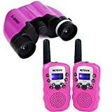 SVBONY 8x21 Kids Binocular Ultra Compact Multi Coated Lens with Retevis RT-388 22 Channel FRS/GMRS Kids Walkie Talkies Outdoor Educational Learning(Purple outdoor combination)