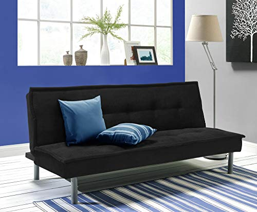 DHP Kent Convertible Microfiber Couch Bed with Sturdy Metal Legs, 600 lbs, Small - Black ()
