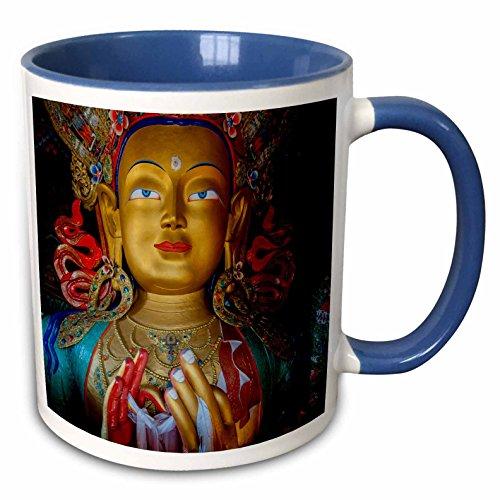 (3dRose Danita Delimont - Ellen Clark - Religion - Jammu and Kashmir, Ladakh, Maitreya Buddha at Thiksey Monastery - 15oz Two-Tone Blue Mug (mug_188094_11))