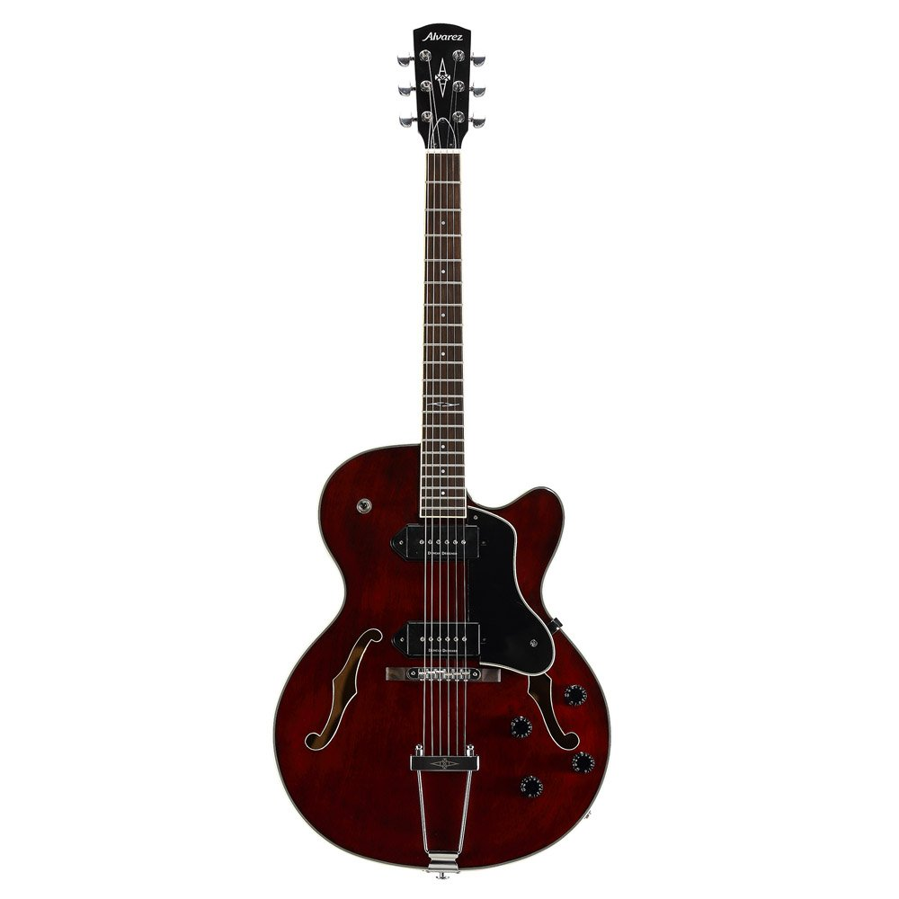 Alvarez AAT34 BGE - Guitarra semiacústica, color rojo vino: Amazon ...
