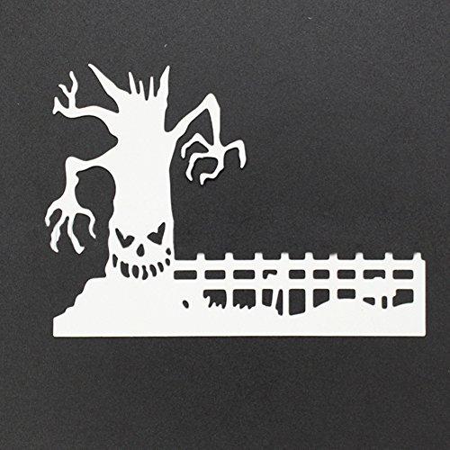 Mosichi Halloween Spooky Haunted Tree Fence DIY Cutting Die Stencil Scrapbooking Card -