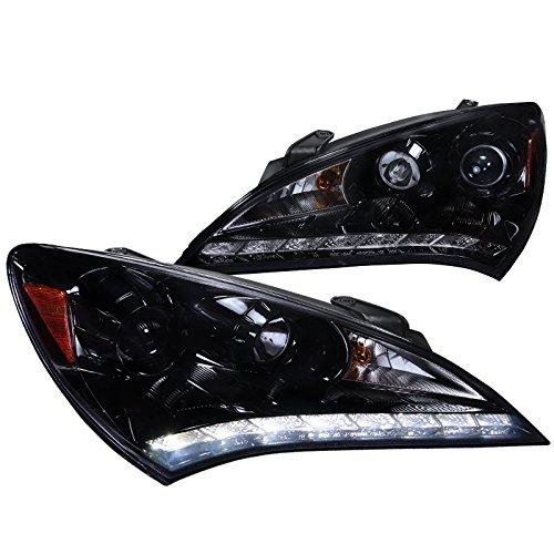 Spec-D Tuning 2LHP-GENS210G-V2-TM Hyundai Genesis Coupe Glossy Black Projector Smoke Headlights W/ R8 Led Drl