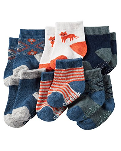 Carter's Baby-Boys Socks, Fox, 0-3 Months (Pack of 6)