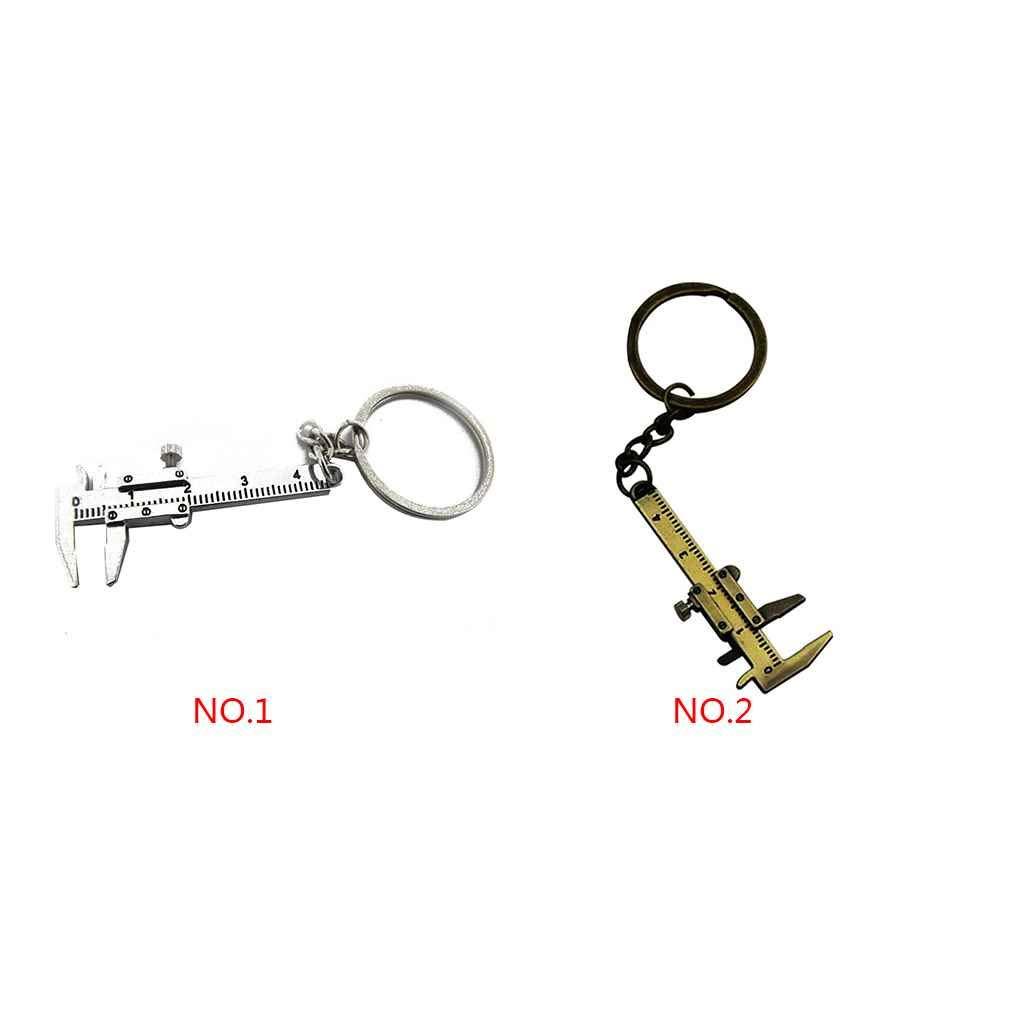 Jinzuke Key Chain Mini Vernier Compasso Mobile Vernier Compasso Righello Modello in Lega di Zinco Chiave Strumento Anello