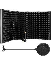 AGPTEK- 5 Ticaret katlanabilir mikrofon izolasyon kalkan, bütün kondansatör mikrofon Aufnahmegeräte (5 Tepsi Katlanabilir, Größere Versiyon) için Mikrofon Pop Filter, Esnek ve Dayanıklı, ile, Katlanabilir emici