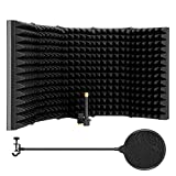 MicrophoneIsolationShield,AGPtEK5FoldableAbsorbingFoamReflectorFoldingPanel,withMicPopFilter,Flexible&Durable,forAnyCondenserMicrophoneRecordingEquipment(5Fold-LargerSize)