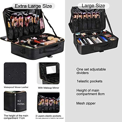 JAZZ GORDEN Professional Leather Makeup Train Case with Mirror Large Makeup Organizer Bag Travel Storage Bag Portable Zipper Cosmetic Brushes Bag Barber Case with Adjustable Divider and Strap